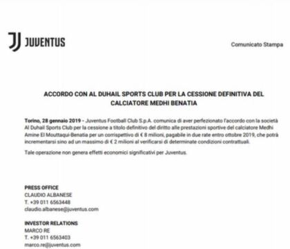 Juve, multa dalla Fifa per la clausola anti big su Benatia