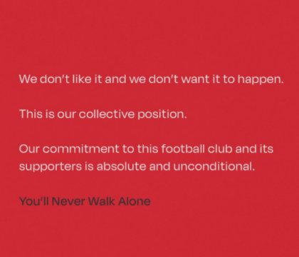 I giocatori del Liverpool si schierano: «La Superlega non ci piace e non vogliamo che accada»