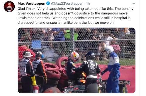 Verstappen: «Hamilton irrispettoso e antisportivo, ho guardato i festeggiamenti dall'ospedale»